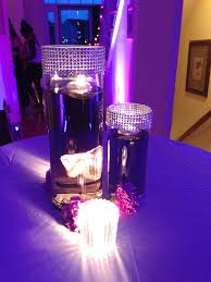 water centerpieces purple tinted water centerpiece with bling tablescape