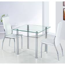 Square Glass Dining Table Como Square Clear Glass Dining Table And 2 Ivory Pisa