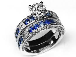blue wedding rings engagement ring vintage engagement ring blue sapphire accents