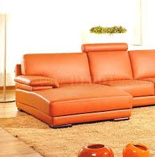 Contemporary Sectional Sleeper Sofa by Full Italian Top Grain Leather Modern Sectional Sofa 2227 Orange