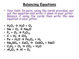 chemistry balancing chemical equations by jamjar87 teaching