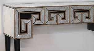 Wall Console Table Greek Key Design Mirrored Console Table U2013 Blue Blazer Decor