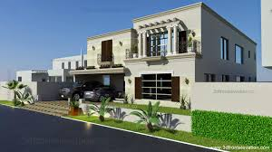 3d front elevation com 1 kanal spanish house design plan dha