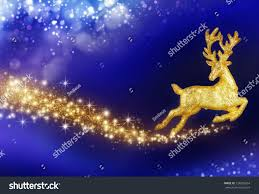 Flying Reindeer Christmas Decorations by Fantasy Christmas Composition Flying Golden Reindeer Stock