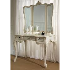 Acrylic Bedroom Furniture by Carved White Stainedwooden Make Up Table With Three Fold Mirror