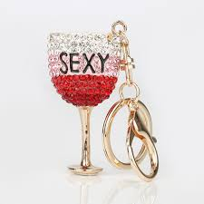 wine glass keychain new creative 3d bling wine glass cup lemon goblet keyring chains