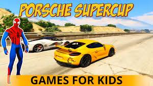 sports porsche cars for kids with spiderman cartoon for children