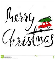 car with a christmas tree merry christmas handwritten modern