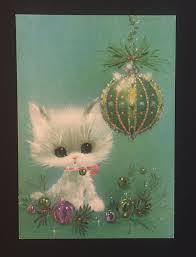 vtg white cat teal purple ornaments laurel american