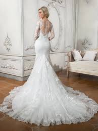 scoop neck long sleeves lace button court train wedding dress