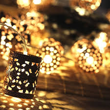 steel retro round lantern battery operated led fairy string