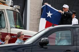 Outside Flag Trump Offers Flag Waving Optimism In Visit To Harvey U0027s Path