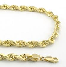 gold solid necklace images 10k yellow gold solid diamond cut rope chain necklace 5mm 22 ebay jpg