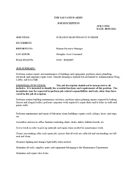 Maintenance Position Resume Resume For Maintenance Job Free Resume Example And Writing Download