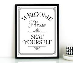 bathroom wall art printable art please seat yourself sign