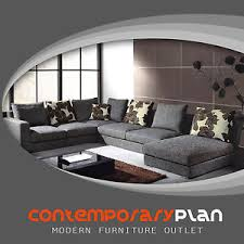 grey fabric modern living room sectional sofa w wooden legs modern grey fabric sectional sofa w chaise and pillows contemporary