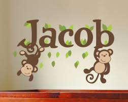 Nursery Wall Decals For Baby Boy Monkey Wall Decal Etsy
