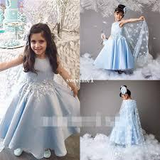 light blue dresses for kids 2017 new arabic light sky blue flower girls dresses appliques beaded