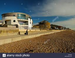 sandgate castle and ultra modern house stock photo royalty free