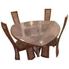 danny ho fong dining table set and four side chairs rattan wicker