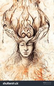 man ornamental crown pencil sketch on stock illustration 446787868