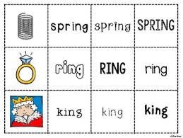 spoons game reading consonant digraph ng phonics word work by