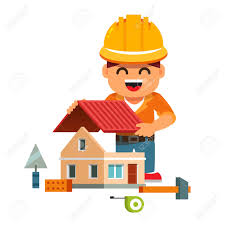 House Builder Young Smiling House Builder In Hardhat Building Home And Mounting