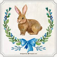 painted easter rabbit with ornaments vector free