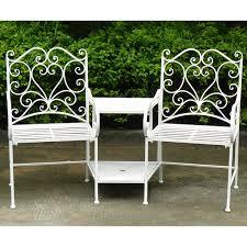 bentley garden wrought iron heart companion seat