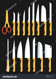 Kitchen Knives Types Different Types Kitchen Knives Vectors Set Stock Vector 243737371