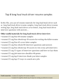 Sample Resume For Driver by Top 8 Long Haul Truck Driver Resume Samples 1 638 Jpg Cb U003d1437640749