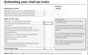 Excel Costing Template Business Start Up Costs Calculator For Excel Excel Templates