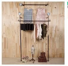 retro iron pipe coat rack clothing store shelf hanging rod side
