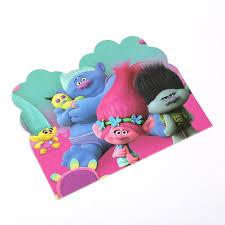 10pcs cartoon trolls movie personalised birthday invitation card