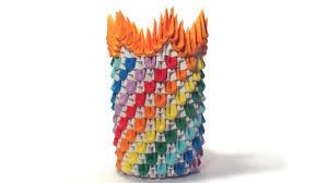 3d Origami Flower Vase Instructions 3d Origami Rainbow Vase Tutorial Youtube