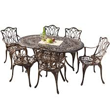 Metal Garden Chairs And Table Amazon Com Gardena Cast Aluminum Outdoor Dining Set Set Of 7