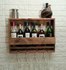 incredible handmade rustic oak wine rack wall mounted holds 4