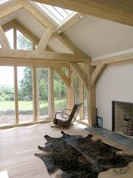 Frame House Living Room With Exposed Oak Queen Post Truss In New Build Oak