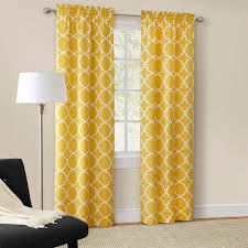 Yellow Window Curtains Mainstays Calix Fashion Window Curtain Set Of 2 Walmart