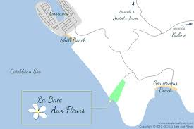 St Barts Island Map by La Baie Aux Fleurs St Barth Bukten Blommor St Barth The