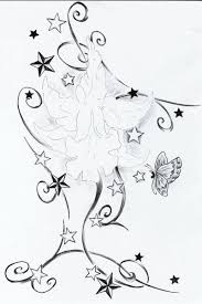 butterfly and stars tattoo design