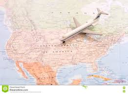 North East Usa Map by Travel Destination Usa Passenger Airplane Miniature On A Map
