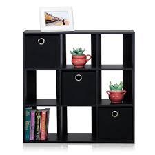 llytech inc simplistic espresso open bookcase with bins 13207ex bk