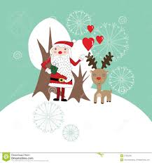 cute christmas card with santa claus and reindeer royalty free