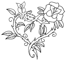coloring page love tattoo heart and rose 3