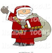 royalty free holiday clipart of a waving santa claus is coming to