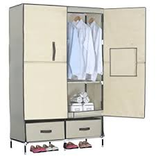 Cloth Closet Doors Woltu Portable Clothes Closet Wardrobe With 2 Drawer