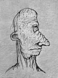 side view old man portrait pencil drawing illustration u2014 stock
