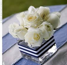 navy blue and white striped ribbon navy blue and white striped ribbon around a square vase