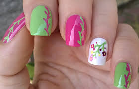 life world women nail art brush designs floral nails in pink